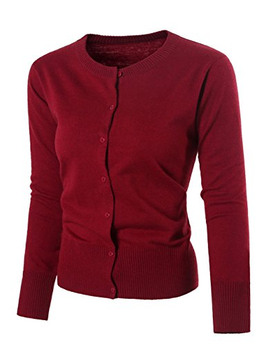 Nipogear Womens Long Sleeve Button Down Soft Knit Cardigan Sweater