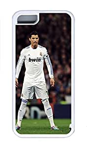 5C Case, iPhone 5C Case Cover, Custom Design Soft Rubber TPU White Cases Cristiano Ronaldo Shoockproof Protective Case Cover for New Apple iPhone 5C