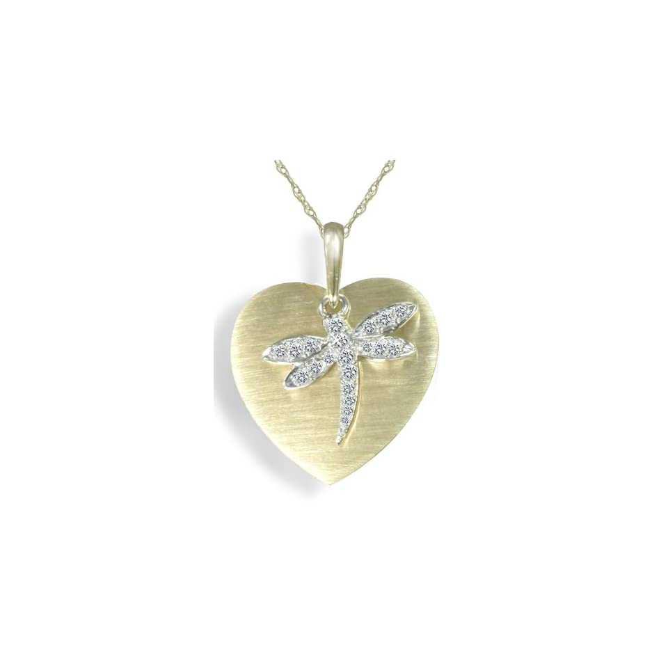 10k Two Tone Gold Diamond Dragonfly Heart Pendant (1/10 cttw, I J Color, I2 I3 Clarity), 18