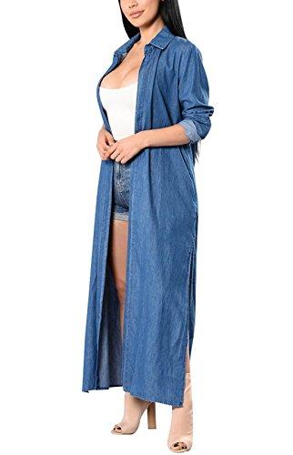 Aisuper - Abrigo - capa - Manga Larga - para mujer Azul