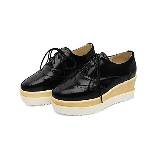 heels Women's Black Odomolor Pumps up Solid 42 Kitten Pu shoes Lace toe Square qPxBwP1d