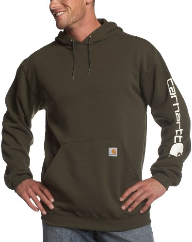 Carhartt Men's Midweight Sleeve Logo Hooded Sweatshirt,Olive  (Closeout),X-Large from Carhartt