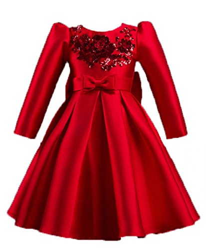 265a9edc1afb9 ZaH Big Little Girl Party Dress 3D Flower Girl Lace Christmas  Gowns(Red,6-7Y)