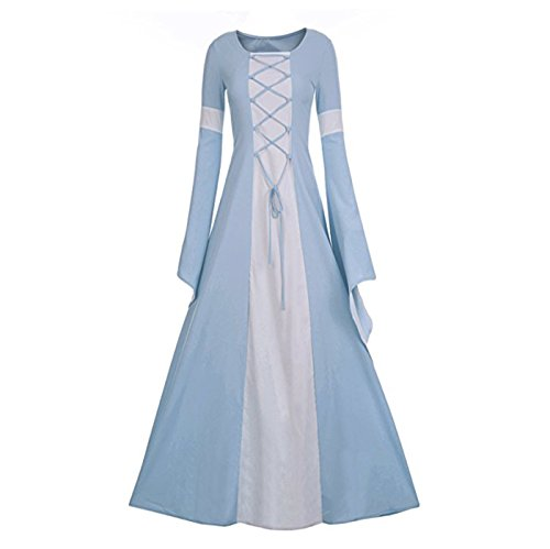 Medieval Queen Dress (Women's Medieval Dress Halloween Cosplay Costume Lace Up Vintage Floor Length Retro Long Dress (S, A-sky blue+white))