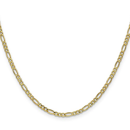 14k Yellow Gold 2.5mm Polished Figaro Link Chain Necklace 24'' by Venture Jewelers