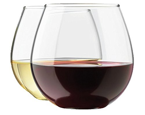 Royal Stemless Wine Glass Set, 8-Pack, 15 Ounce Wine Tumbler Set, Glass by Royal