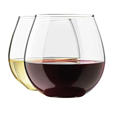 [Mother's Day Gift] Stemless Wine Glass Set by Royal, 4-Pack, Holds up to 15 OZ of Your Favorite White or Red Wine, Shatter-Resistant, Ideal for Wedding Gifts, Hostess Gifts, or Thank You Gifts
