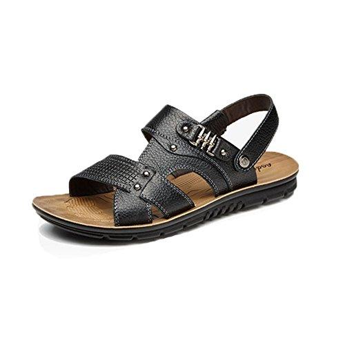 para Hombres Sandalias Pantuflas De Black Cuero Zapatos Casuales Sandalias Verano De Zapatos De Playa De Cuero xwF4wqEg1