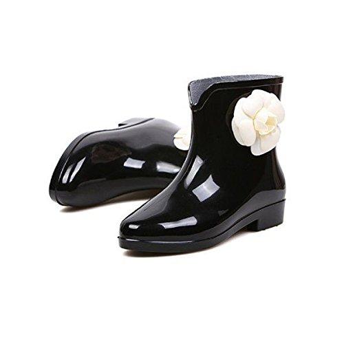 【ノーブランド品】美脚ショートレインブーツ/可愛い花レインガーデンシューズ雨靴長靴レディース(36(~23.0㎝),ブラック)