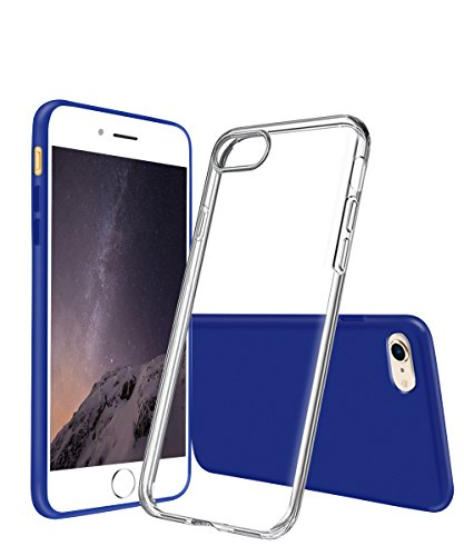 Price comparison product image iPhone 7 Case Aistyle 2-Pack (Blue&Clear) Slim Sliding Design Rubber Interior Matte Finish Rugged Scratch Protection Case Full Protection Covers for Apple iPhone 7
