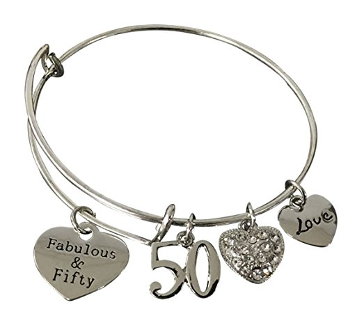 Infinity Collection 50th Birthday Gifts for Women, 50th Birthday Expandable Charm Bracelet, Adjustable Bangle, Perfect 50th Birthday Gift Ideas -
