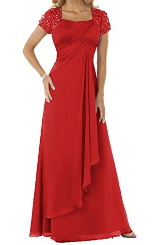ivyd ressing Mujer utilizada aermel cortas con piedras gasa largo fijo vestido pelota para vestido de noche Rojo