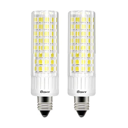 Bqhy E11 Led Bulbs,7.5 Watt,75W Halogen Bulbs Replacement,950 lumens,Not Dimmable,JD T3/T4 E11 Mini Candelabra Base 110V 120V 130 Voltage Input, Pack of 2(Daylight 6000K)