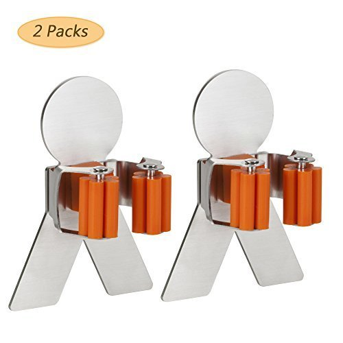 Decity 3M Self Adhesive Mop and Broom Holder SUS304 Stainless Steel Broom Hanger with Spring Clip (2pcs) by Decity (Image #5)