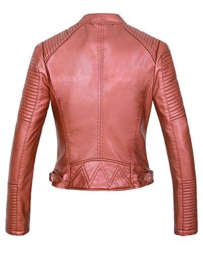 Morbida Zip Pelle Kasen Da Giacca Giacché Motociclista Asimmetrica Finta Rosso Donna wOw8Y1xX