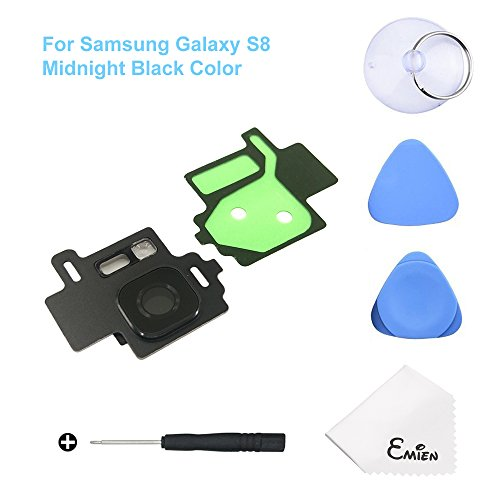 EMiEN Rear Back Camera Glass Lens Cover Frame with Adhesive + Flash Cover Pre-Installed Replacement Parts for Samsung Galaxy S8 G950 (All Carriers) with Repair Tool Kit (Midnight Black)