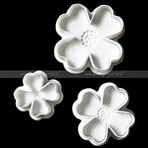 Generic 3Pcs/Set 4 Petals Heart Shape Flower Cutter Fondant Cake Sugarcraft Decorating Plunger Tools (White)