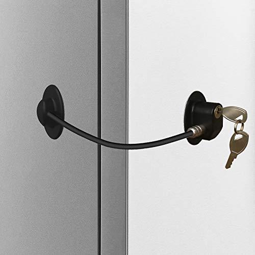 - Alamic Refrigerator Door Lock 2 Pack- Freezer Door Lock Cabinet Lock Strong Adhesive Cable Lock Security Door Lock, Black