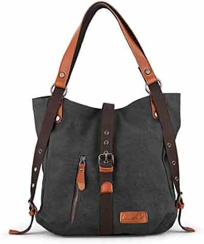 671dc0b3e68b7 SHANGRI-LA Purse Women s Canvas Tote Bag Casual Shoulder Bag Handbag  Rucksack Convertible Backpack