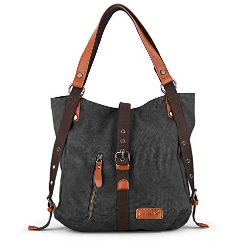 SHANGRI-LA Purse Handbag for Women Canvas Tote Bag Casual Shoulder Bag School Bag Rucksack Convertible Backpack - Black ()