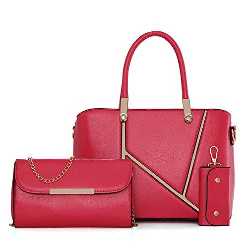 Women 3pcs Tote Bag PU Leather Handbag Purse Bags Set - 6