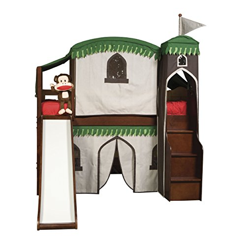 Bolton Furniture  9921600LT6TRSB Mission Low Loft Treehouse Bed with Stairs, Tower, Bottom Curtain Playhouse and Slide, Cherry (Mission Youth Loft Bed)