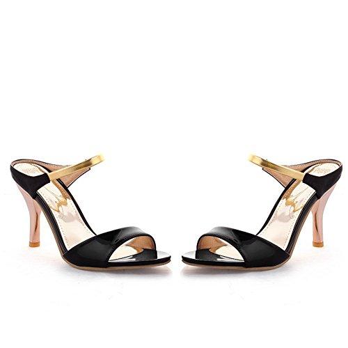 Voguezone009 Da Donna Open Toe In Pelle Verniciata Con Tacco Alto, Pantofole Solide Con Metalleria Nera