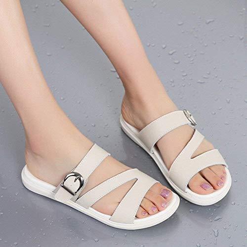 Lan Lan 35 Cómodas Simples Todo Para Sandalias Fuweiencore De Mujer Moda Tamaño Ropa Cuero Uso Zapatillas color Mi wS6x4qa