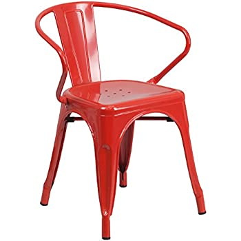 Flash Furniture Red Metal Indoor Outdoor Chair With Arms