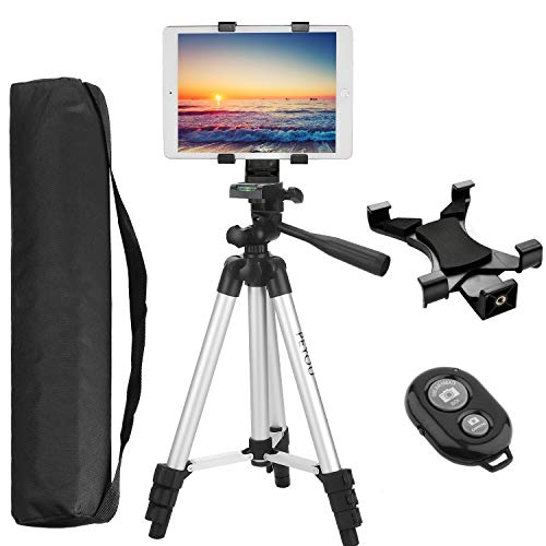 Peyou Tablet Tripod, 42 inch Portable Lightweight Adjustable Aluminum Camera Tablet Tripod + Universal Mount Tablet Holder + Wireless Remote Shutter Compatible for iPad Samsung Kindle Fire Tablet