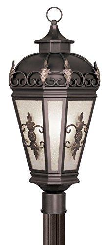 Livex Lighting 2197-07 Outdoor Post with Antique Honey Linen Glass Shades, Bronze