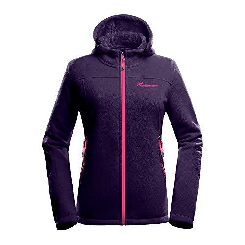 Fleece Purple Hoodie (OutdoorMaster Women's Fleece Jacket - Waterproof & Stain Repellent, Ultra Soft Plush Lining & Optional Hoodie - Full-Zip (Purple Hoodie,M))