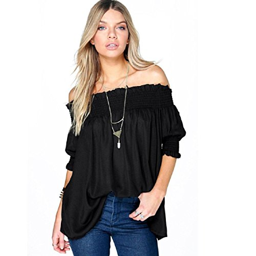 Short Sleeved Kimono Bodysuit (TONSEE Women's Sexy Off Shoulder Casual Loose Blouse Shirt (XL, Black))