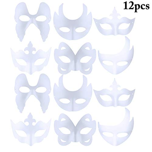 Coxeer 12PCS Costume Party Mask DIY Unpainted Assorted