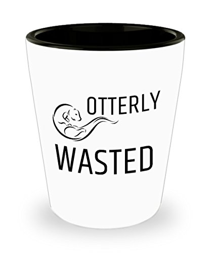 Otterly Wasted Bar Drinking 1.5oz Shot Glass Funny Play On Words Otter Lover Alcohol Drinker Gift