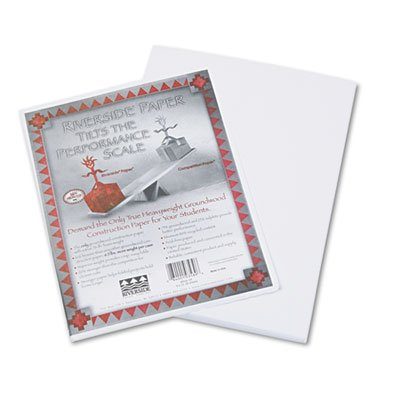 Pacon Riverside Recycled Construction Paper, 76 lb., 9 x 12, White -