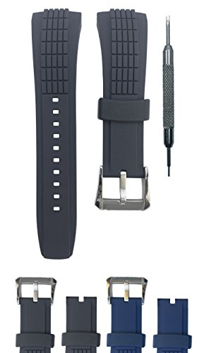 (26mm Rubber Watch Band Strap for Velatura SNAA93P2 SPC007P1 SPC077P SRH006P1 | Free Spring Bar Tool (Black + Buckle) )