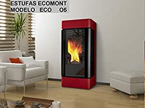 Estufa DE Pellet Modelo Eco O5 11 KW Color Blanco Y Burdeos: Amazon.es: Hogar