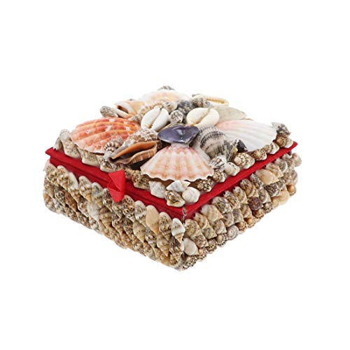 Li'Shay Natural Seashell Covered Jewelry Trinket Box Treasure Box - 4 Inch - -