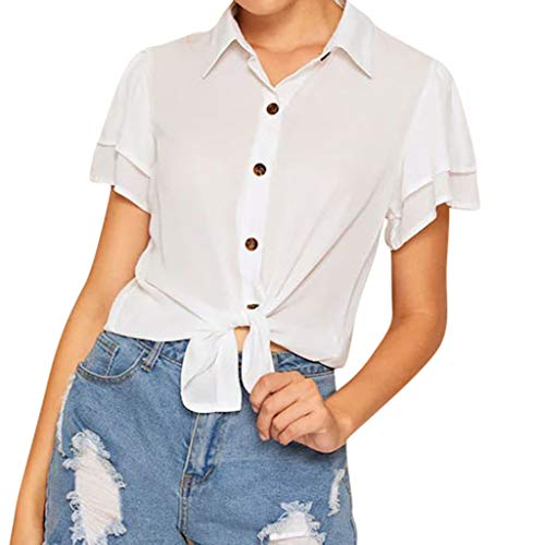 Shiny Violet Transparent Sunglasses - POQOQ Women T-Shirt Summer Casual Button Down Solid Short Sleeve V-Neck Top Blouse(White,M)