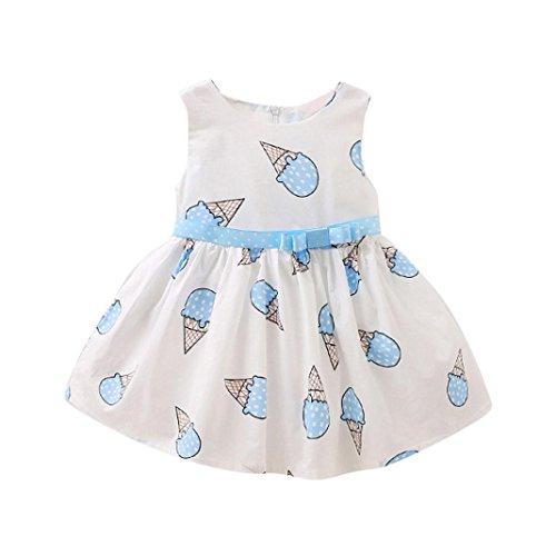 Toddler Girls Dress, METFIT Cute Child Baby Ice Cream Printed Tulle Dress 2017 Summer (Size:12M, Light (Monogrammed Hoodie)