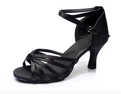 YOGLY Zapatos de Baile Latino de Mujer Salsa Zapatos de Baile de Salón Adulta Zapatos de Danza Tango Tacon Medio Negro A (Tacón 5cm)