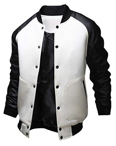[Sorrica Mens Fashion Splicing Leather Sleeve Baseball Varsity Bomber Jacket (US Medium, White)] (Leather Letterman Jacket)