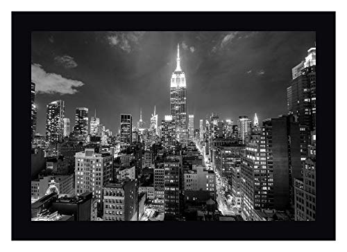 Empire State Building at Night by Anon. 12' x 16' Black Framed Canvas Giclee Art Print - Ready to Hang