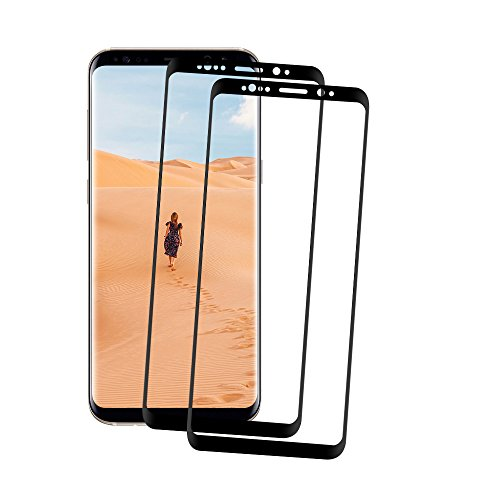 lovely Galaxy Note 8 Screen Protector, TOPBIN Full Coverage [Anti-Scratch] 9H Hardness Tempered Glass HD Screen Protector with 3D Curved Edge for Samsung Galaxy Note 8 (2 pack black)