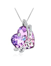 ❤Eternity of Love❤ Amethyst Crystal Necklace for Women Love Heart Necklace with Swarovski Crystals, Rose Gold Necklace Birthday Gifts for Women Mom-Jewelry Box Included