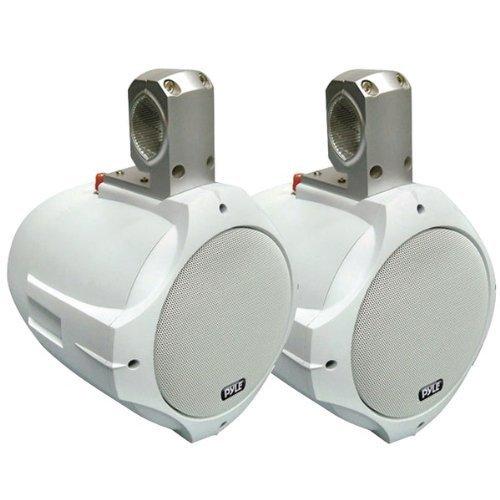 """Pyle 8"""" 300 Watt Two-Way White Wake Board Marine Speakers"""