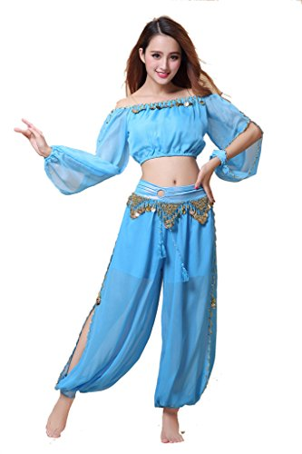 ZLTdream Belly Dance Chiffon Long Sleeves Top and Lantern Coins Pants Light Blue ()