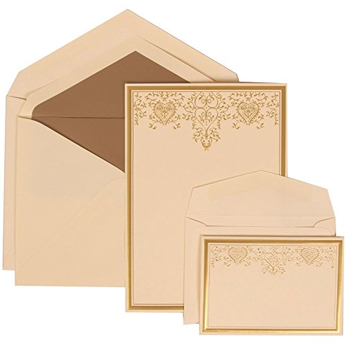 JAM Paper Wedding Invitation Combo Set - 1 Large & 1 Small - Gold Heart Set, Ivory Card with Taupe Lined Envelope -100/pack by JAM Paper