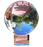 Amlong Crystal Clear Meditation K9 Crystal Ball 3.25 inch (80mm) for Photography, Lensball with Free Stand and Gift Box